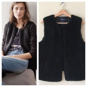 Madewell faux shearling vest black xs